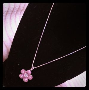 Sterling silver chain with pink and cz flower pend
